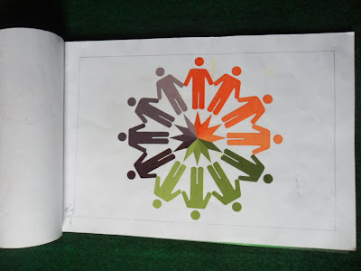 "Gamabr Lingakaran bertema "" Persahabatan "" hasil warna cat poster"