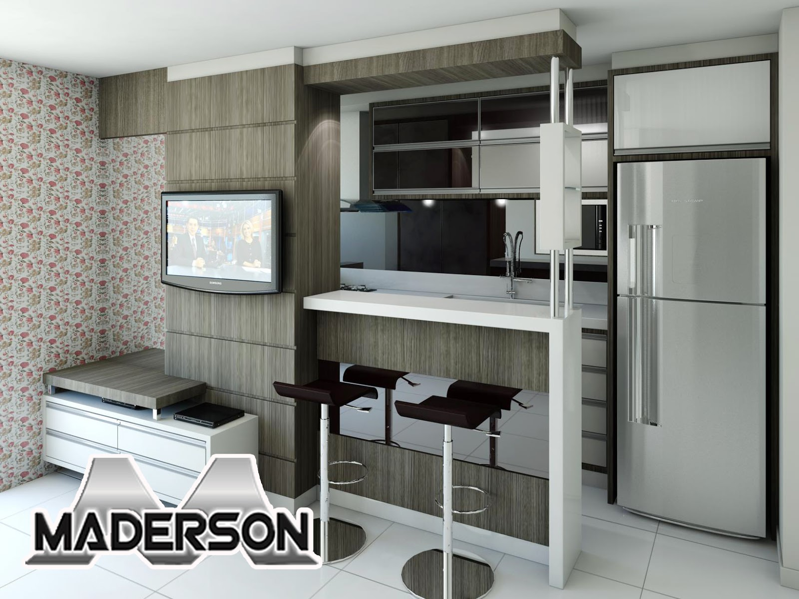 Móveis Maderson: Cozinha e Sala para apartamentos pequenos! #71615A 1600 1200
