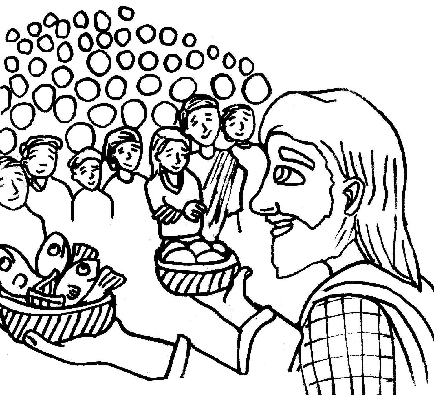 LDSFiles Clipart: Jesus Feeds 5000 Coloring Page