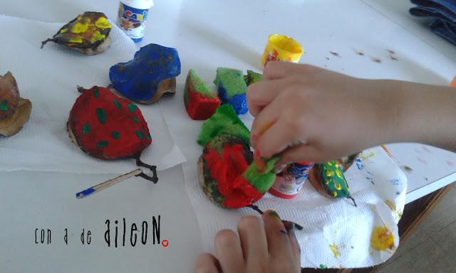 pintar jacaranda fruto tempera acrilico esponja niños