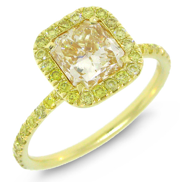 Yellow Diamond Engagement Ring In 18Kt Yellow Gold For You To See
