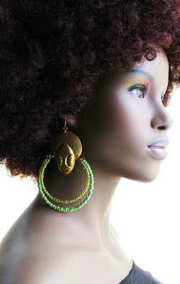 large green african brass beaded hoop earrings
