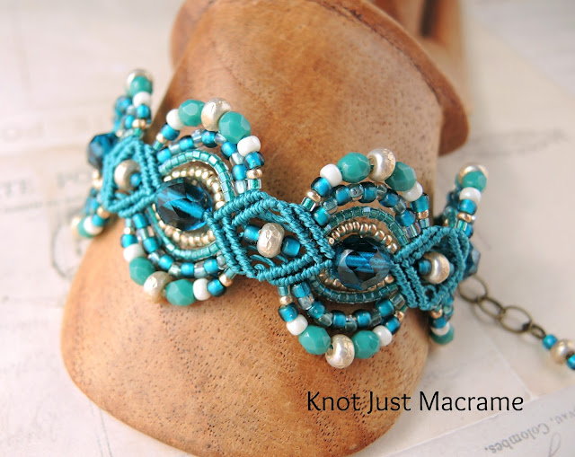 Beaded micro macrame bracelet by Knot Just Macrame peacock colors