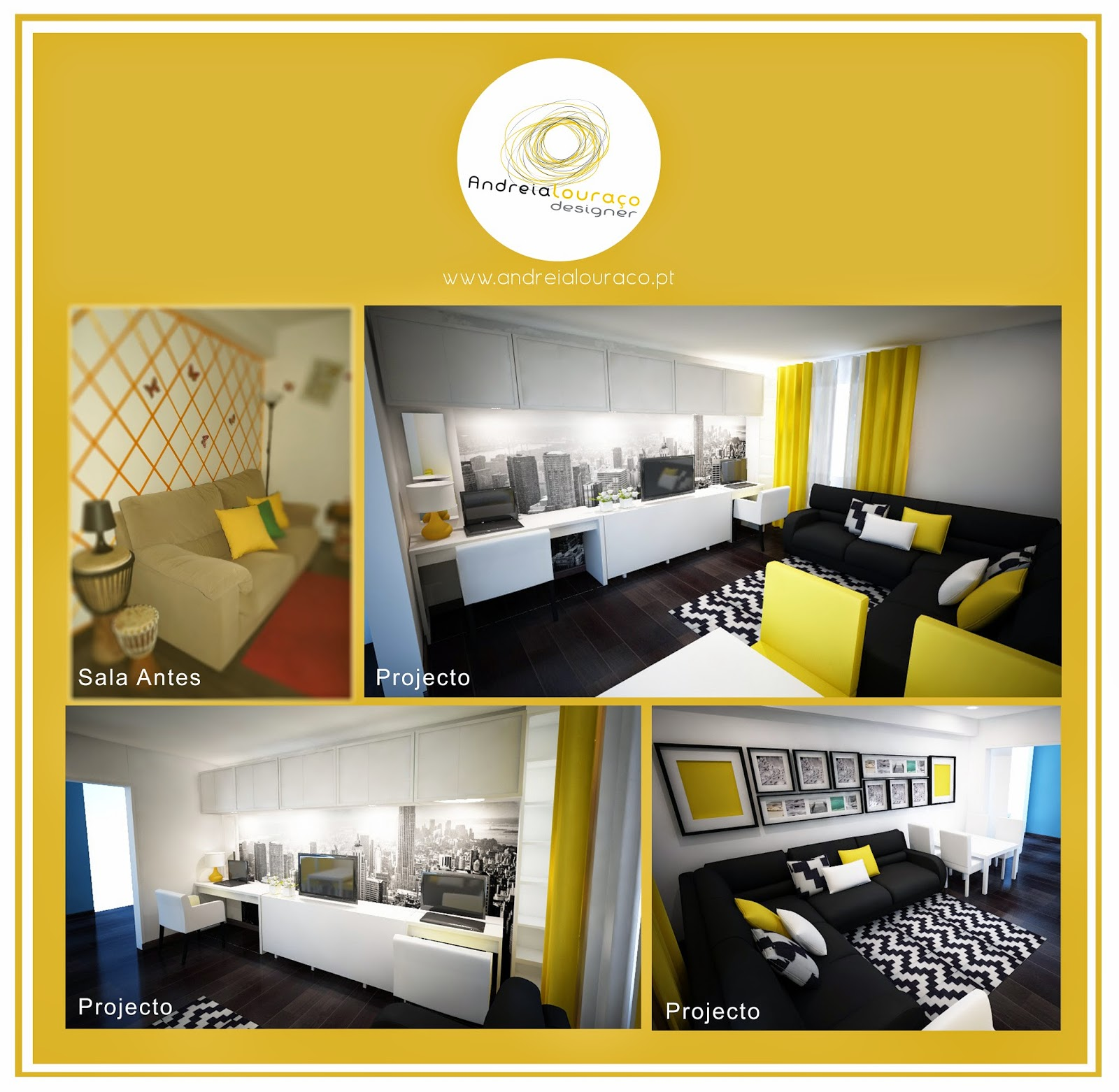 decoracao de sala azul turquesa e amarelo : decoracao de sala azul turquesa e amarelo: de Sala/escritório – Soluções Lowcost – Amarelo, Cinza e Preto