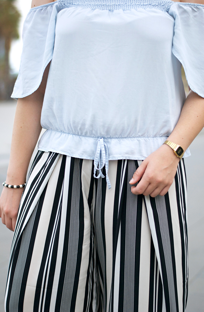 outfit barcelona off-the-shoulder blouse palazzo pants