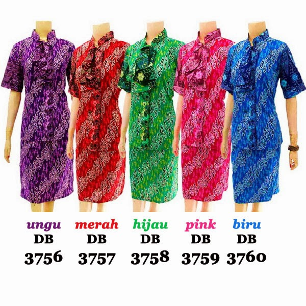 DB3756-3760 Model Baju Dress Batik Modern Terbaru 2014