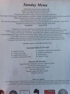 Stitch and Bear - Sunday lunch menu listing Irish producers at the Fatted Calf, Glasson