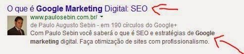 Resultado de busca com o site de Paulo Sebin para explicar como é funcionamento Google com meta descrição.