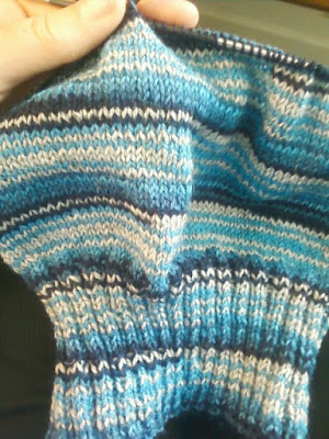 Blue striped slouchy hat for sale at https://www.etsy.com/shop/JeannieGrayKnits
