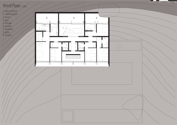 Third floor plan of Modern beach house in Brazil by Marcio Kogan