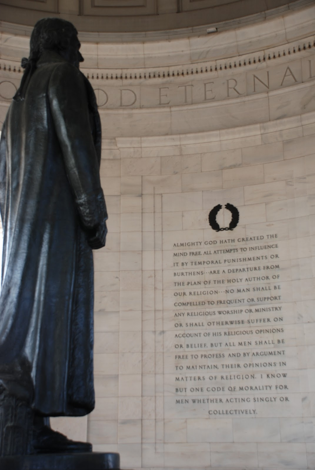 egnorance  jefferson memorial violation of wall of separation between church and state in quote from virginia act for establishing religious dom written by author