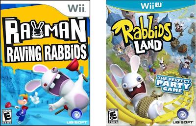 Box art for video games Rayman Raving Rabbids and Rabbids Land