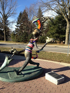 Yarnbombed statue of the Cat in the Hat, Naperville Public Library's Nichols Library