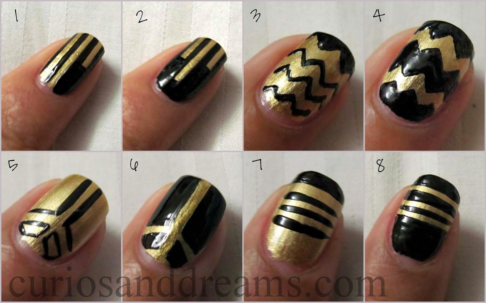 Black & Gold Nail Art, Black & Gold Nail Art design