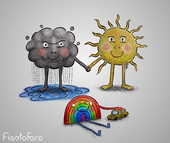 Ilustración de una nube, un sol y un arcoiris. Donde la nube y el sol son los papás y el arcoiris es el cabrito chico.