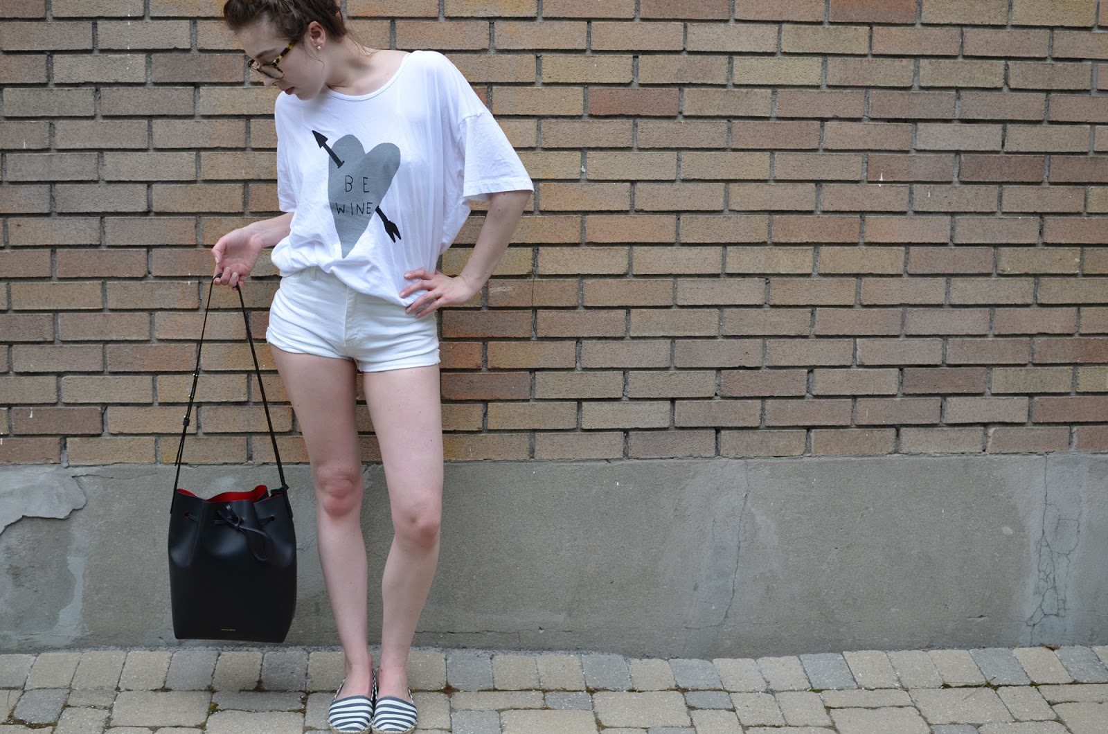 "OOTD ft. Stay Home Club ""Be Wine"" t-shirt, Aritzia Azure Skies shorts, Mansur Gavriel bucket, and Forever21 espadrilles"