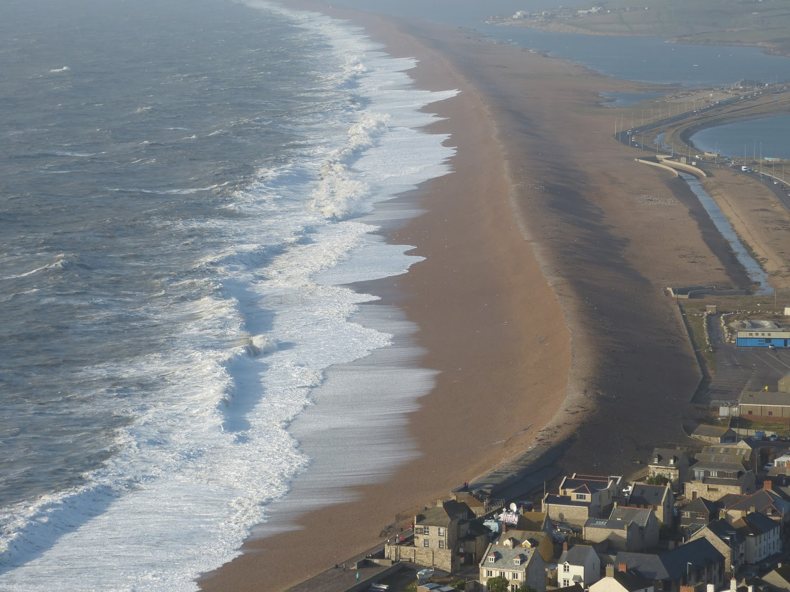 Aerial view of Chesil Beach, January 2014