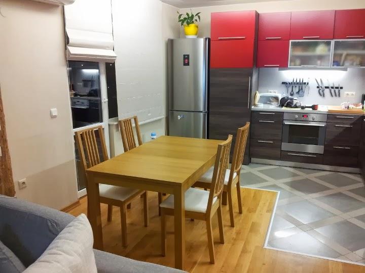 Кухня ПДЧ 2.50x2.80 червен мат и венге 5