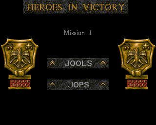 Cannon Fodder Jools Jops Heroes in Victory promotion screen