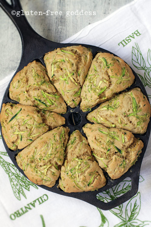 A pan of gluten-free zucchini lime scones from Gluten-Free Goddess