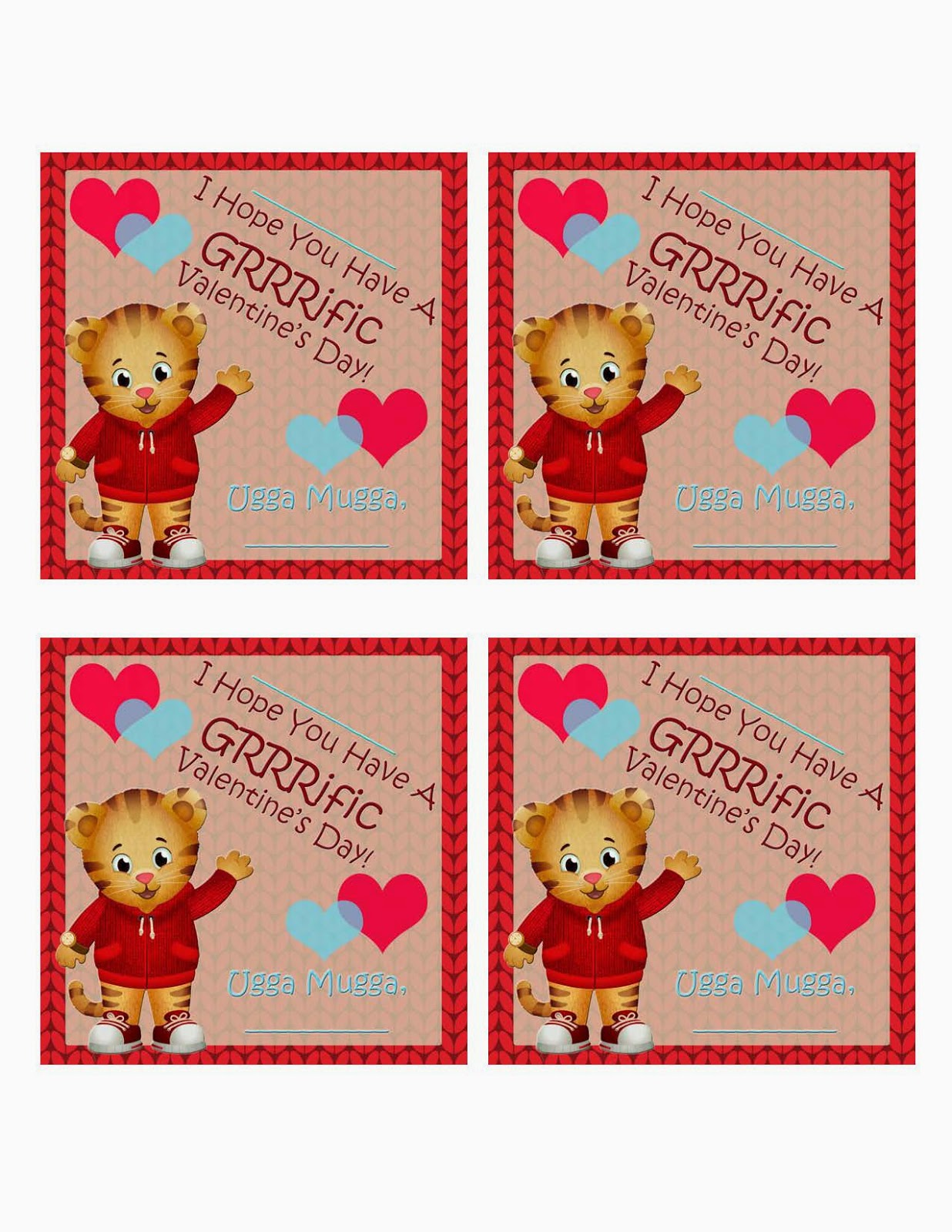 Click HERE To Print Your Daniel Tiger Valentines: