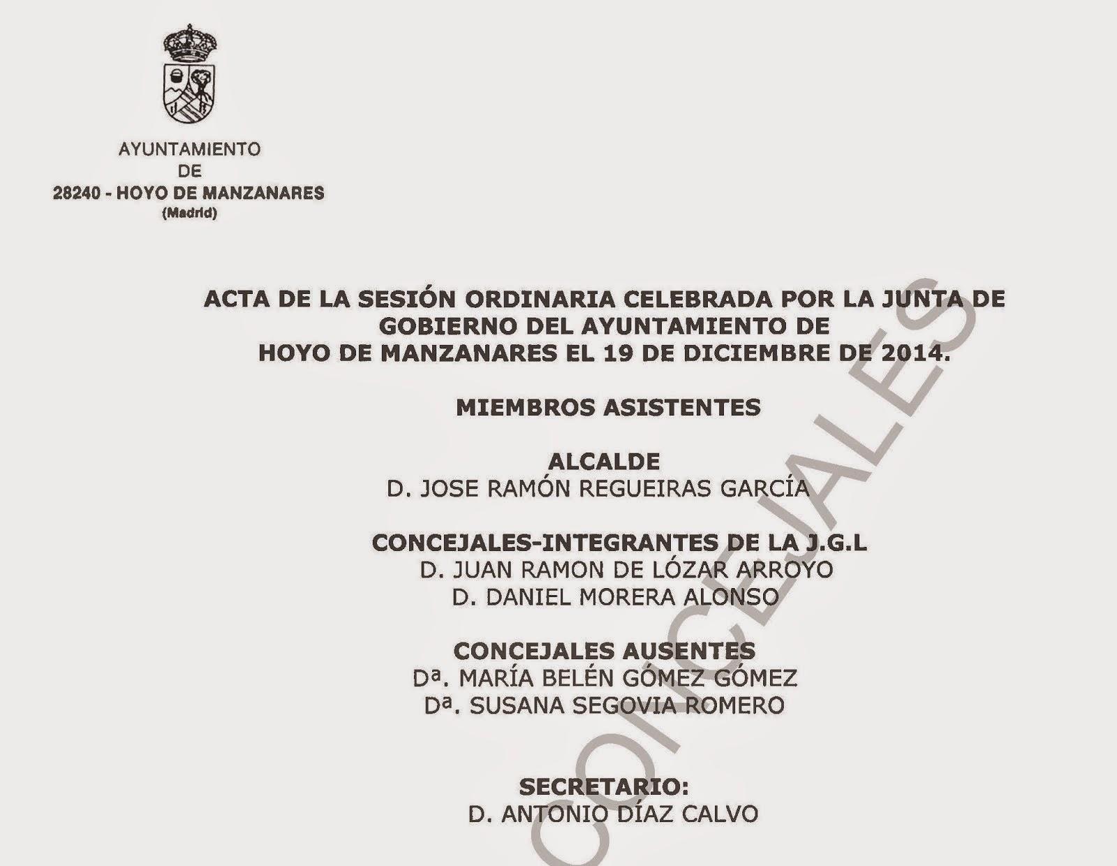 Acta de la Junta de Gobierno Local de Hoyo de Manzanares del 19 de Diciembre de 2014