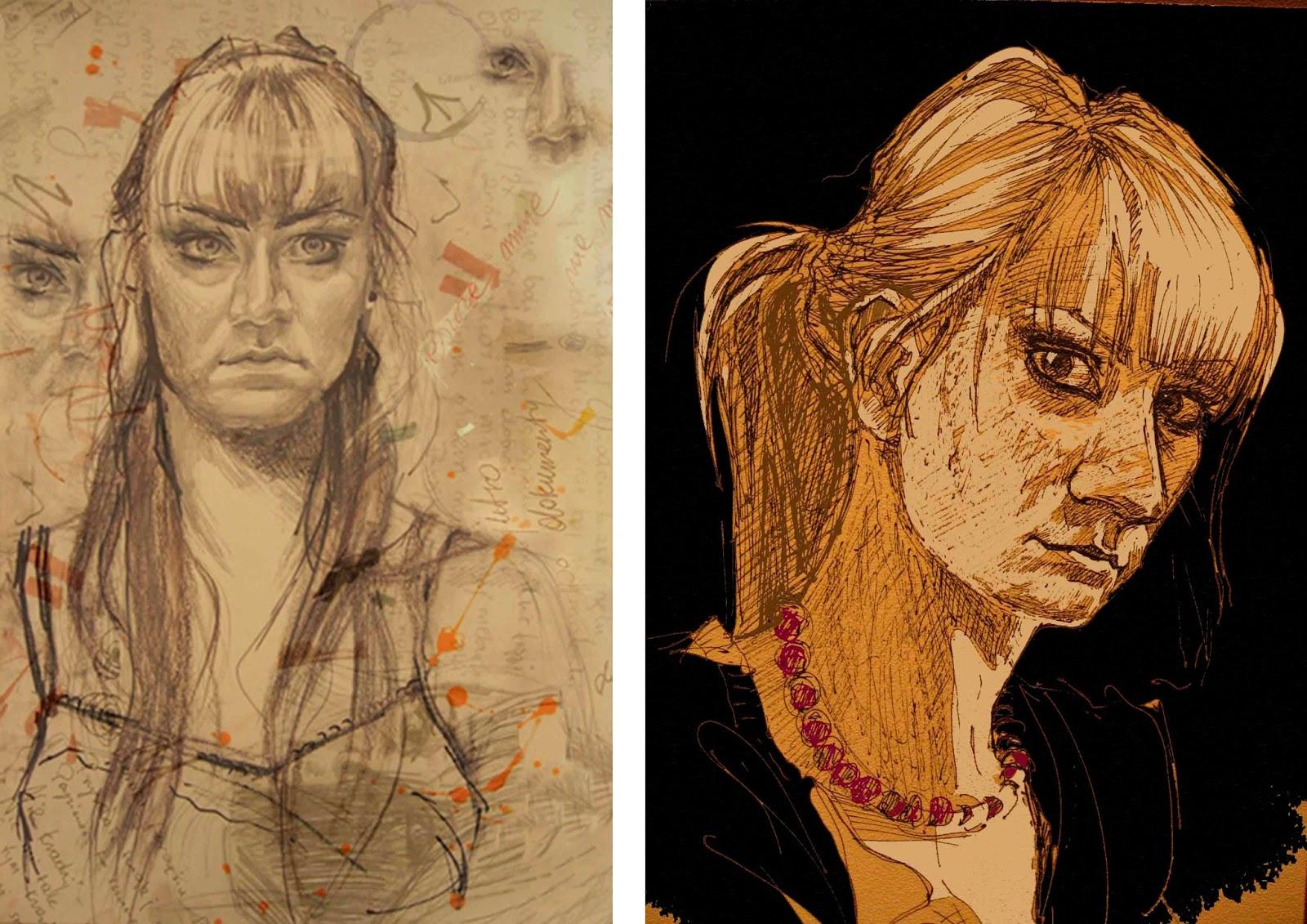 portret autoportret Katarzyna Urbaniak rysunek ilustracja portraits draw sketches ink pen pencil mixed trechiques reflection in the mirror interestinng portrait illustration
