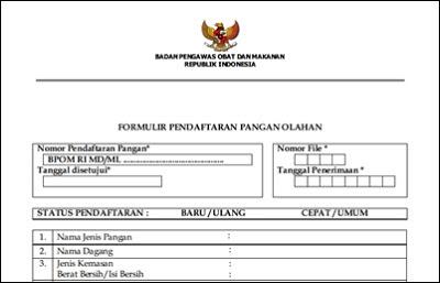 formulir pendaftaran BPOM