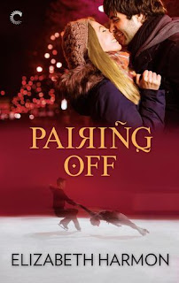 Cover description: On the top half of the cover a man and a woman in winter gear smile at each other and are about to kiss; on the bottom half of the cover and a pair of figure skater are on the ice. The background is red.