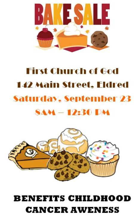 9-23 First Church of God BAKE SALE