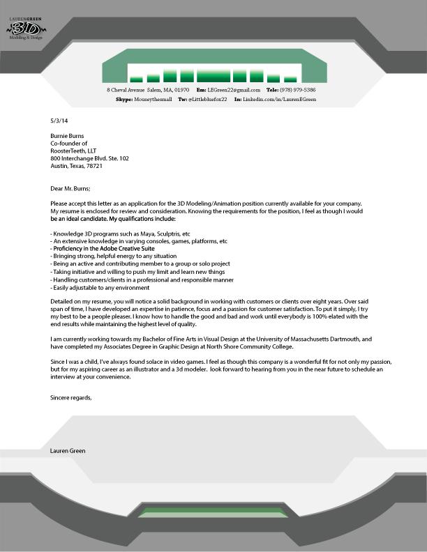 lauren green illustration 3d modeling cover letter letterhead