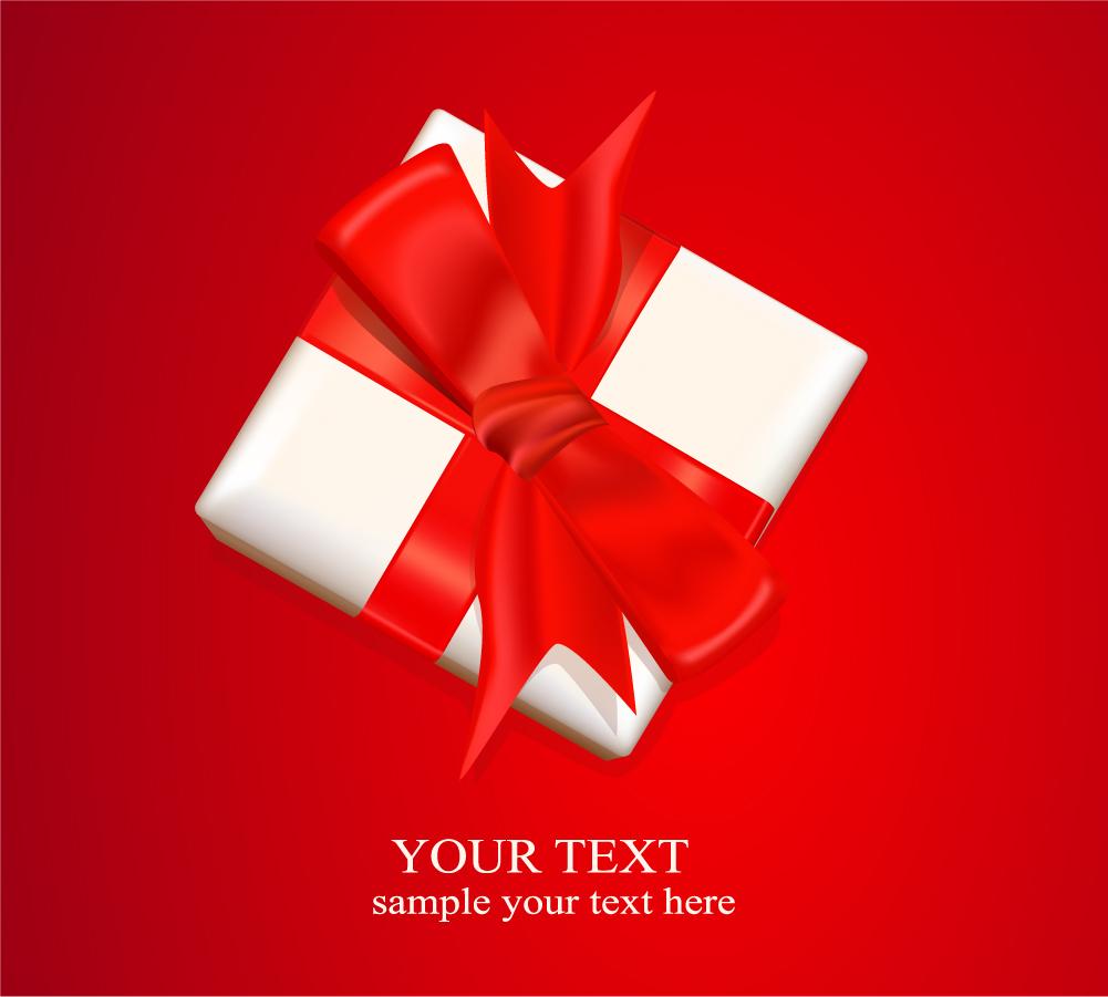 真っ赤なリボンの贈り物 Gift Top View Vector Background イラスト素材