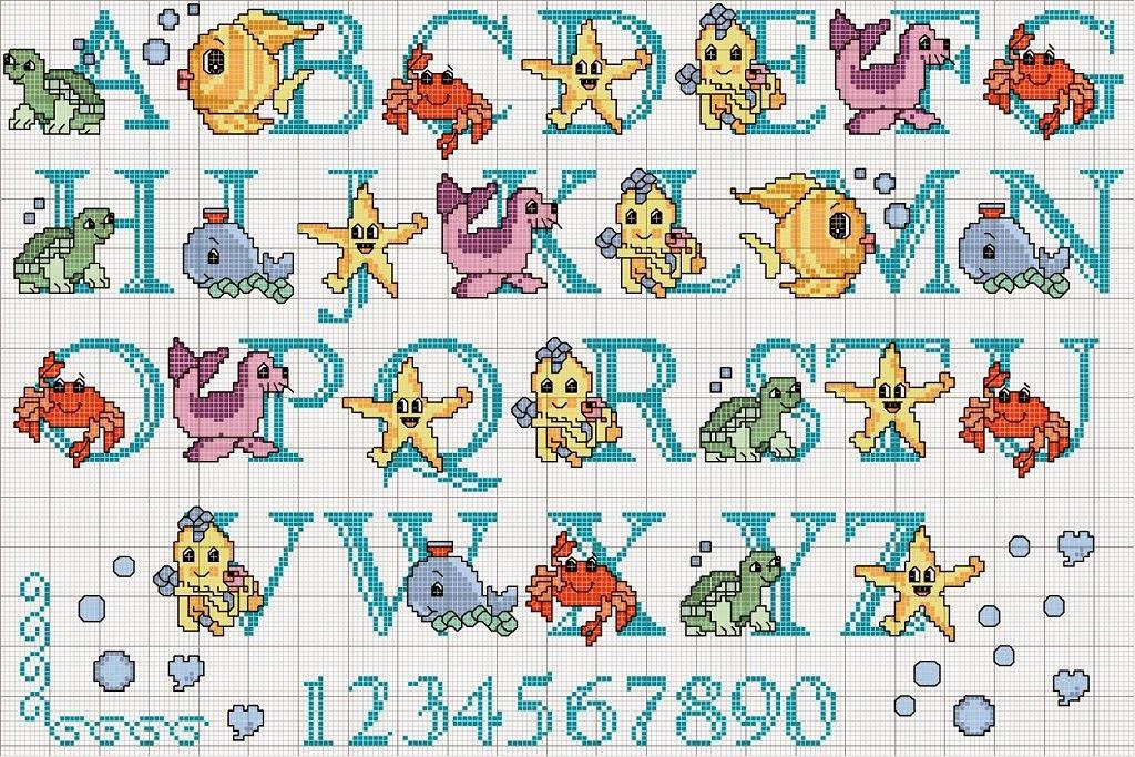 Labores de raysa abecedario sencillo punto de cruz infantil - Punto de cruz bano ...