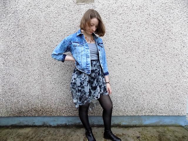 OOTD ft. River Island drop hem skirt (January sales) & Boohoo denim jacket!