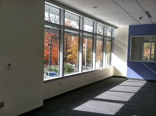fall color and light streaming in windows at Gaithersburg Library