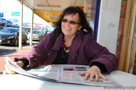 Christine Harbers, Waipukurau, answering questions for One-Man-Poll, an election poll by Harrison Christian, reporter at Hawke's Bay Today photograph
