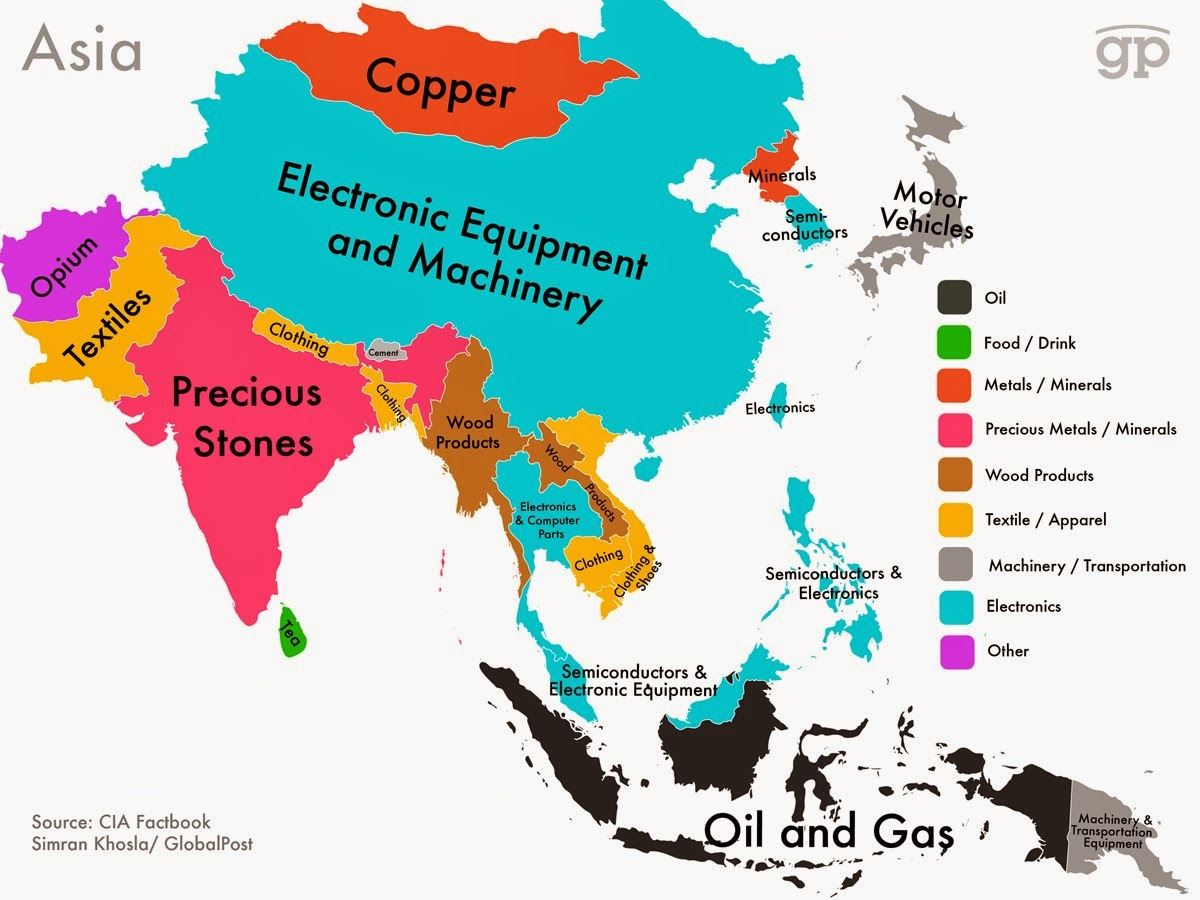 Every Country's Highest-Valued Export In Map asia