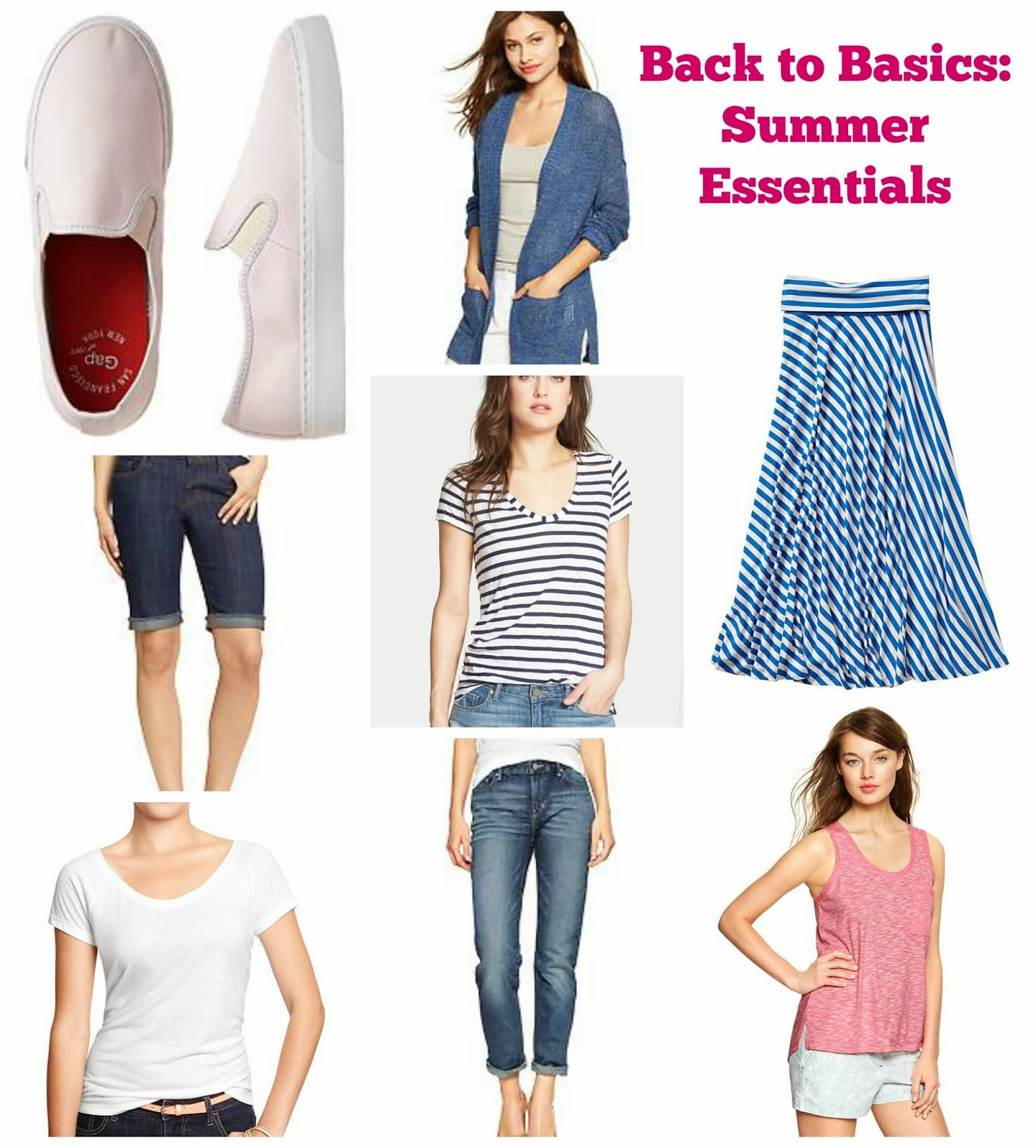 best white tee, Tank, Gap, Old Navy, Slip on Sneakers, chevron maxi, open cardigan, cuffed jeans, bermuda shorts