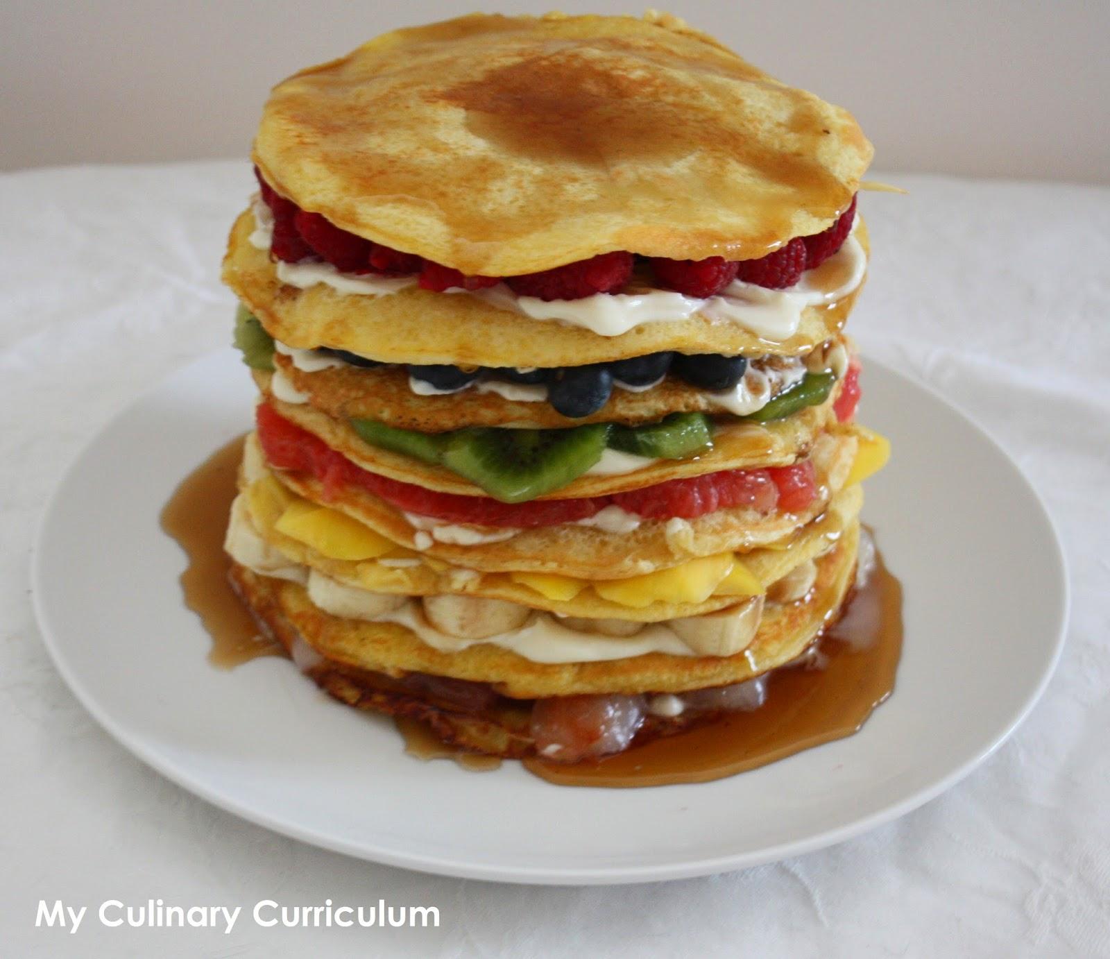 my culinary curriculum g teau de pancakes arc en ciel aux fruits fruits rainbow pancakes cake. Black Bedroom Furniture Sets. Home Design Ideas