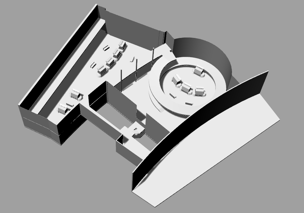 3D model of the Ed Roberts campus space in gray and white.