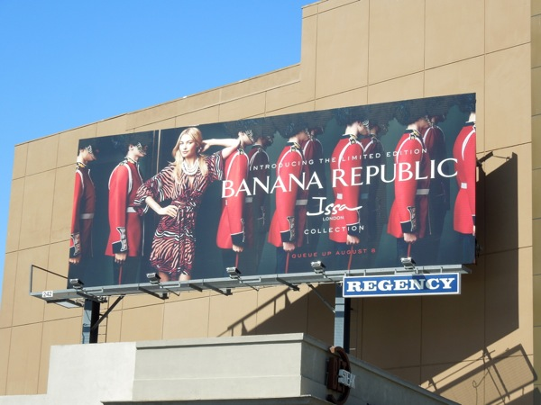 Banana Republic issa Collection queens guard billboard