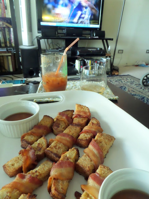 Bacon Wrapped French Toast:  Sweet french toast sticks wrapped in crunchy, salty bacon.  A great hand held breakfast.