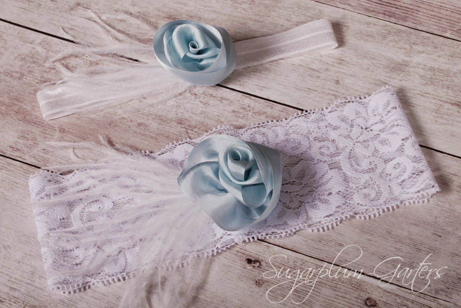 Wedding Garter Set in Pale Blue Silk and White Lace by Sugarplum Garters