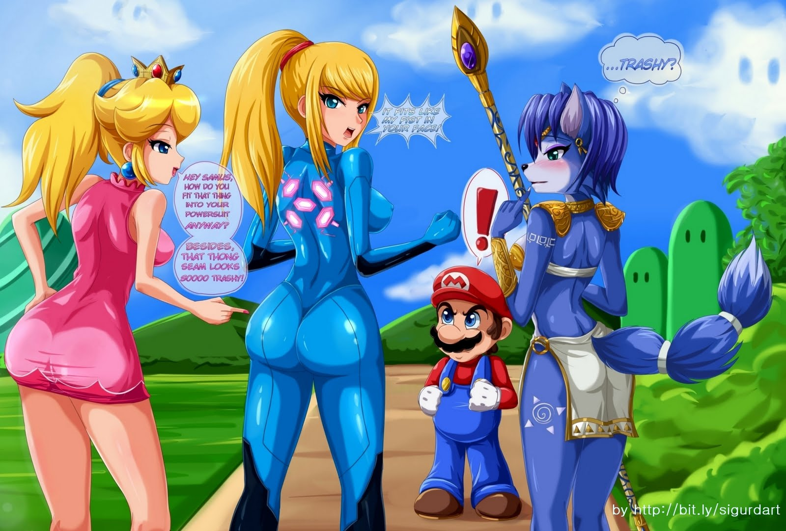 ... involving Princess Peach, Zero Suit Samus, Krystal and Mario.
