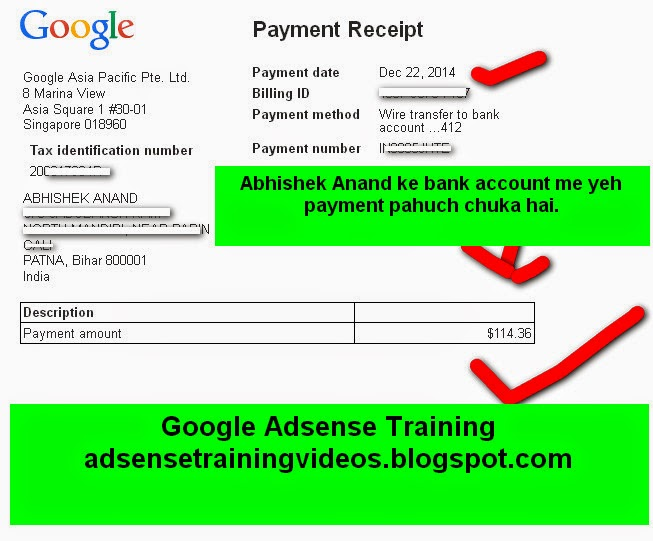 22 December ko Mere bank account me Google Adsense dwara $114 ka payment - Payment reciept