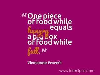 VIETNAMESE PROVERB QUOTE : ONE PIECE OF FOOD