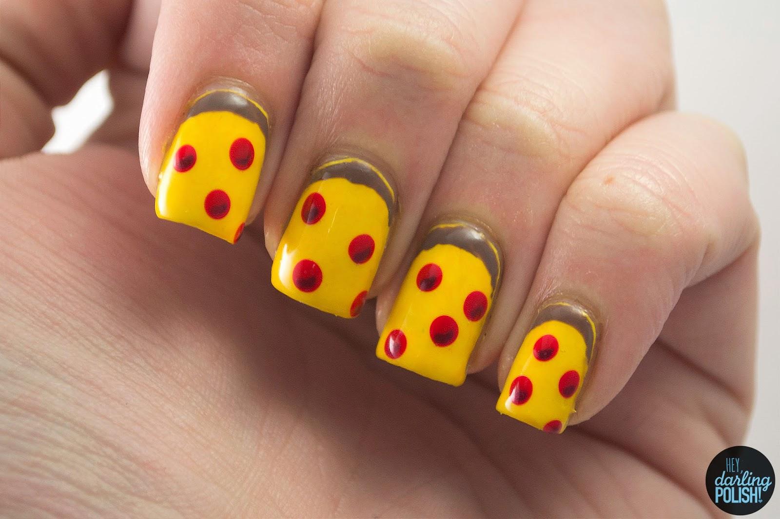 nails, nail art, nail polish, polish, pizza, pepperoni, hey darling polish, theme buffet