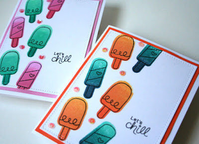 Backward Stamping with Ombre Inks by Jess Gerstner featuring Newton's Nook Designs Summer Scoops