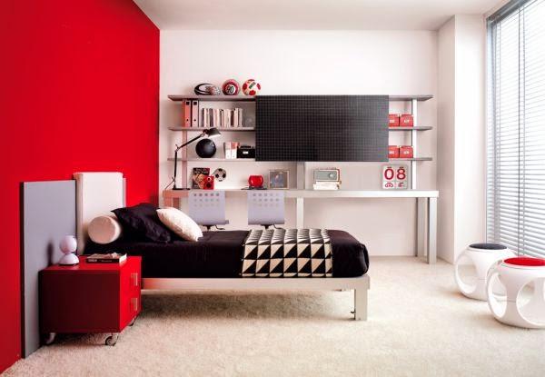 Habitaciones Juveniles Decoradas En Rojo ~ Dormitorios de adolescentes en gris y rojo  Dormitorios colores y