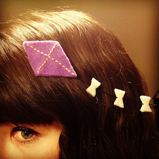 Chalkboard Nails: Handmade kite hairclip